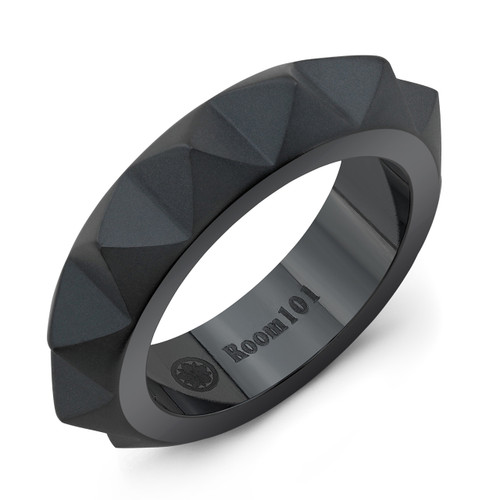 Room101 Narrow Punk Rock Black Titanium Ring