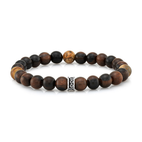 Wood & Agate Bead Stretch Bracelet