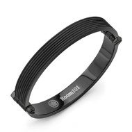Black PVD Flat Striped Bangle