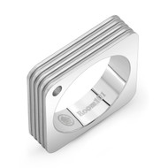 Striped Square Stainless Steel Ring