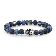 8mm Sodalite Bead Bracelet with Sterling Silver Skull