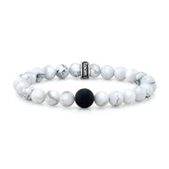 8mm Howlite & 10mm Satin Black Agate Bead Bracelet