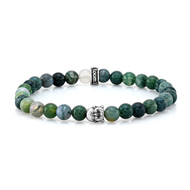 6mm Moss Agate & Silver Buddha Bead Bracelet