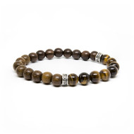8mm Wood & Tiger Eye Bead Bracelet
