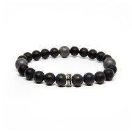 8mm Satin Agate & 10mm Hematite Bead Bracelet