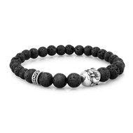 6mm and 8mm Lava Stone Bead Bracelet With Silver Buddha Fitting