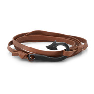 Small Black Arrow With Brown Leather Wrap Bracelet