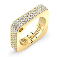 18K Gold Square Ring With Micro White Diamonds On Surface
