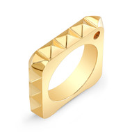 18K Gold Square Pyramid Ring With Corner Diamond