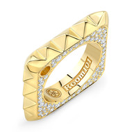 18K Gold Square Pyramid Ring With Micro White Diamonds On Side
