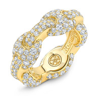 18K Gold G Link Ring White Micro White Diamonds