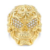18k Pattern Skull Ring With Micro White Diamonds