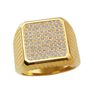 18K Gold Stripped Block Ring With Micro White Diamonds