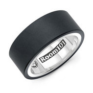 Black Titanium Men's Ring With Sterling Silver Inner Band