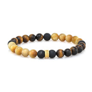 8mm Tiger Eye & Smooth Agate Bead Bracelet