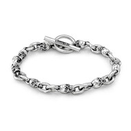 Sterling Silver Men's  Skull &  2 Links Bracelet