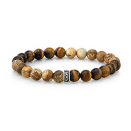 8mm Tiger Eye and Frosted Brown Agate Bead Bracelet