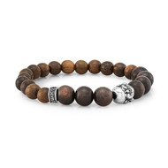 8mm Natural Wood With Silver Buddha Bead Bracelet