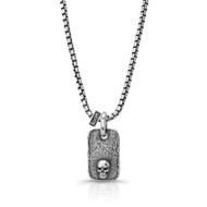 Distressed  Sterling Silver Small Rectangle Dog Tag With Skull