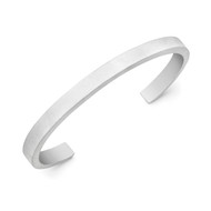 Satin Finish Silver Minimal Bangle Cuff
