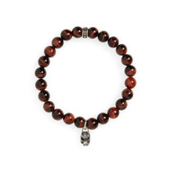 8 MM RED TIGER EYE BEAD BRACELET WITH MINI FILIGREE SILVER SKULL CHARM