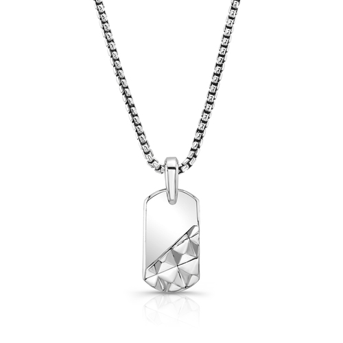 Slant Pyramid Dog Tag in Sterling Silver
