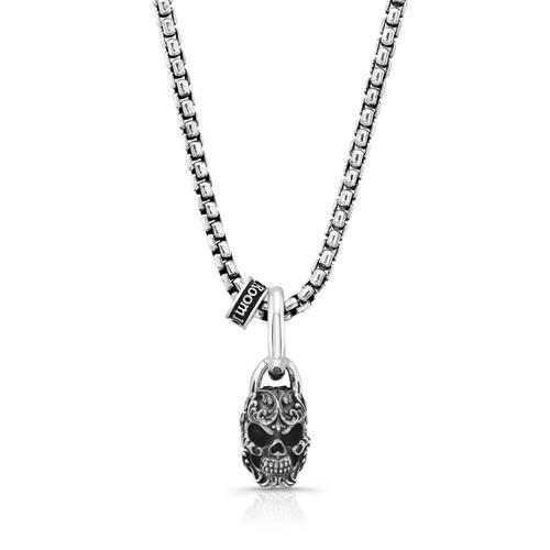 Filigree Skull Pendant Medium in Sterling Silver