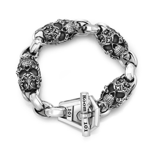 Large Filigree Skull and Octa link Bracelet