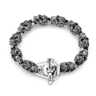 Sterling Silver Medium Filigree Skull Link Bracelet