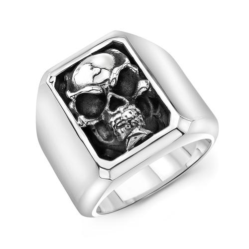 Sterling Silver Skull Frame Block Ring