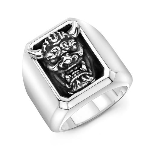 Sterling Silver JYA in Frame Block Ring