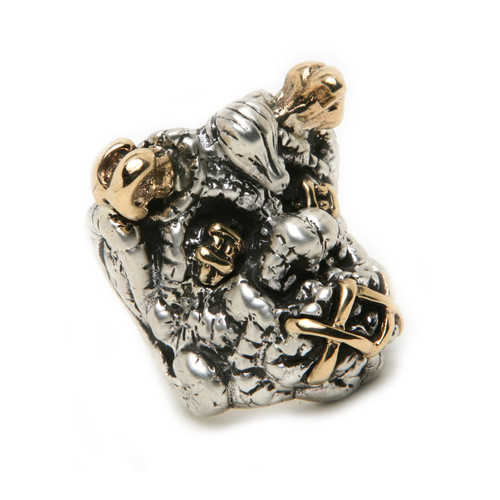 Shrunken head ring in Sterling Silver and 18 K Gold