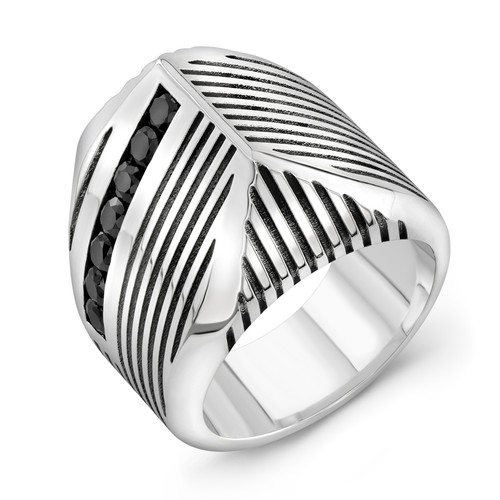 Striped talon ring with onyx stones in sterling silver