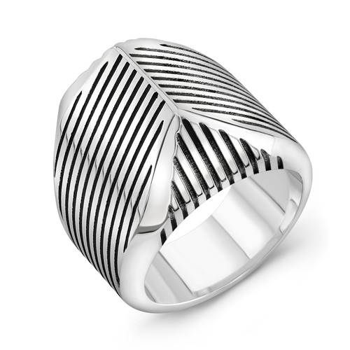 Sterling Silver Striped Talon Ring