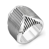 Sterling Silver Striped Talon Ring