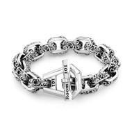 Sterling Silver Filigree Link Bracelet /9.5 inch