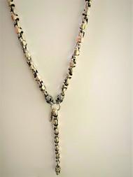 Sterling Silver Mini Caterpillar Necklace with Mini Filigree Skulls