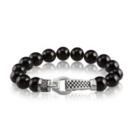 10 mm Agate and Silver Checker  Clasp Bracelet