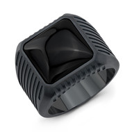 Titanium Block Onyx Ring /size 10
