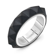 Black Titanium with Stainless Steel Small Men's Ring/size 9