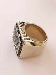 Sterling Silver Block Ring With Blue Diamonds/size 9