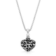 Sterling Silver Large  Filigree Heart  Necklace