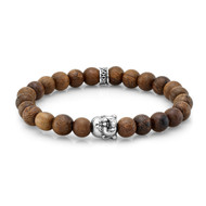 8 mm Natural Wood Bead Bracelet with Silver Buddha