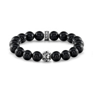 10 mm Agate Bead Bracelet With Skulls bead