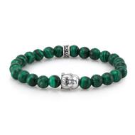 8 mm Malachite Beads With Silver Buddha