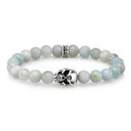 8 mm Aquamarine Beads With Silver Skull