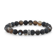 8 mm Frosted Agate Stretch Bead Bracelet