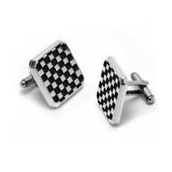 Sterling Silver Checker Cuff Link