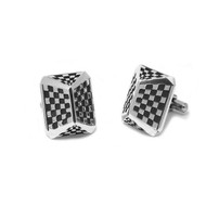 Sterling Silver Talon Cuff Link Checker Pattern