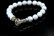 10 mm Howlite Bead Bracelet With Sterling Silver Punk Clasp/9 inch